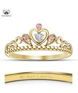Hot Women's Disney Princess Aurora Style Crown Ring 18k Gold Plated 925 ... - £40.44 GBP