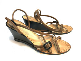 COLE HAAN brown leather strappy wedge dressy sandals pumps 11 FREE SHIP! - $46.48