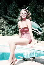 Rita Hayworth Sexy in Swimsuit Sitting on Diving Board by Pool 24x18 Poster - $23.99