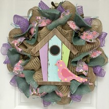 Pastel Birdhouse Spring Welcome Wreath Handmade Deco Mesh - $92.99
