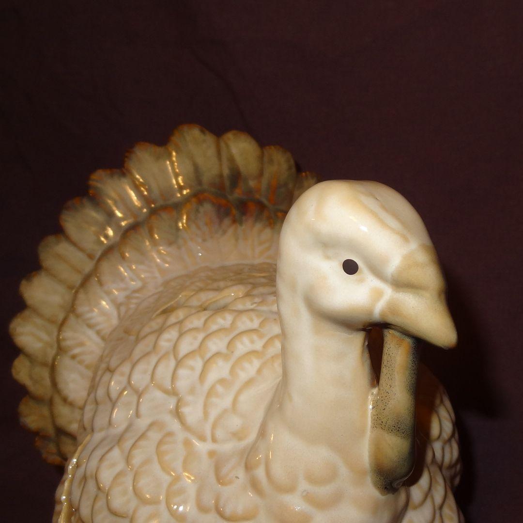 "Turkey Thanksgiving Tea Light Candle Holder 7"" Table Top Centerpiece Cream Color image 2"
