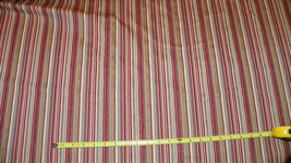 Red Beige Green Stripe Print Upholstery Fabric Remnant   F441 - $39.95