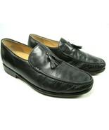 Dino Monti Avanti Mens Black Leather Tassel Apron Toe Loafers Size US 9 ... - $69.68