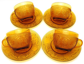 Tiara Cups & Saucers Set Of 4 Amber Sandwich (8 pcs total) Indiana Glass - $59.95