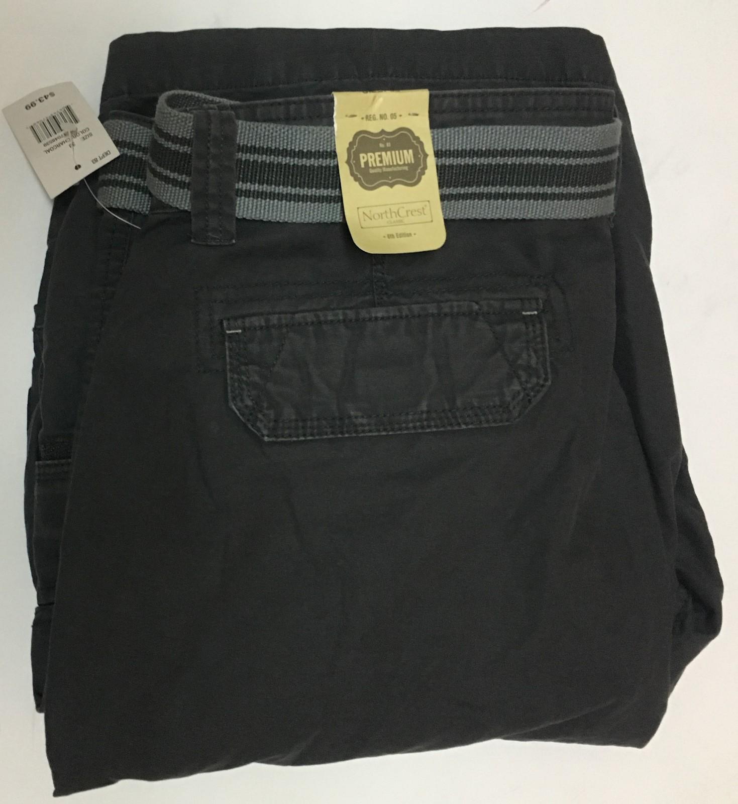 NorthCrest Premium Men's Gray Cargo Shorts W/Belt Sz 38