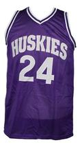 A.Tyler #24 HuskiesThe 6th Man Movie Basketball Jersey Sewn Purple Any Size image 1