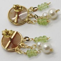 18K YELLOW GOLD EARRINGS, PERIDOT CIRCLE FLOWER CAMEO FINELY HANDMADE IN ITALY image 3