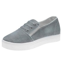Women's Denim Sneakers Classic Basic Flats Shoes Slip-on Loafers 8 M US, Grey - $39.49