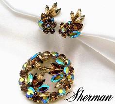Vintage Sherman Domed Brooch Earrings Set In All Brilliant AB Rhinestones - $79.95
