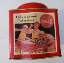 Vintage 1990s Collectible COCA-COLA TIN Baseball Player Container by Bristolwear - $10.89