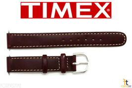 TIMEX Q7B854 Original 14mm Brown Stitched Oiled Leather Watch Band w/ 2Pins - $12.71