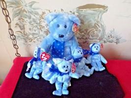 1999 Blue Holiday Teddy TY Beanie Buddy & 4 Jingle Beanie with tags - $24.75