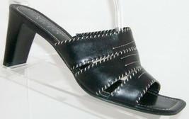Franco Sarto black leather square toe stitched slip on slide black heels... - $18.49