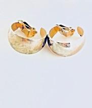 Vintage Style Earrings Gold Tone Textured Wide Half Hoop Clip On - $8.79