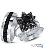 Flower Style Bridal & Mens Band Trio Ring Set Diamond White Gold Over 92... - ₨9,535.24 INR