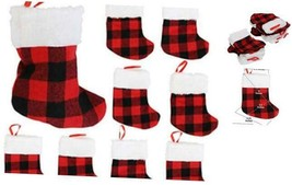 Mini Christmas Stockings, Red Buffalo Plaid, 24-Pack - $16.28