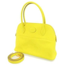 HERMES Bolide 27 Veau Swift Leather Lime Handbag 2Way Shoulder Bag #D France - $7,271.00