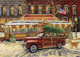 """Design Works Counted Cross Stitch Kit 14""""X20""""-Route 66 Christmas (14 Count) - $37.33"""