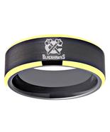 Chicago Blackhawks NHL Hockey Team Logo Tungsten Black Gold Edge Ring - $32.99