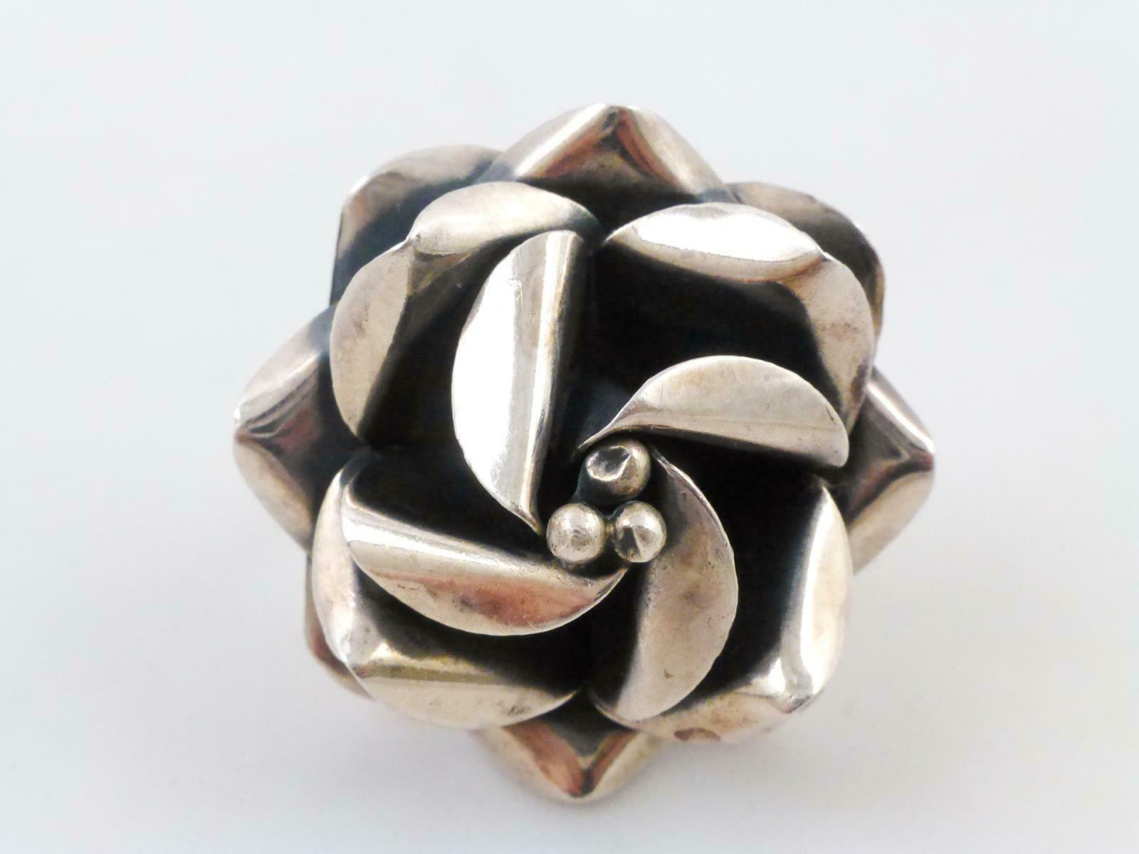Primary image for HUGE Flower Handcrafted RING in Sterling Silver - adjustable size 8 - MEXICO