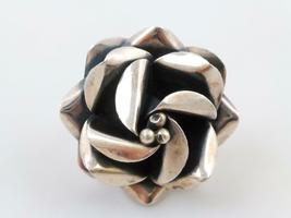 HUGE Flower Handcrafted RING in Sterling Silver - adjustable size 8 - ME... - £49.64 GBP