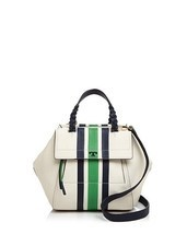 Tory Burch Half Moon Stripe Small Satchel Leather Bag in Ivory Green NEW - $427.68