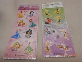 NEW 2 Hallmark Disney stickers glitter fairies & glitter princess stocki... - $4.46