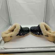 NWOB UGG Australia Sheepskin Lined Black Leather Cloggs US SIZE 4 - $38.61