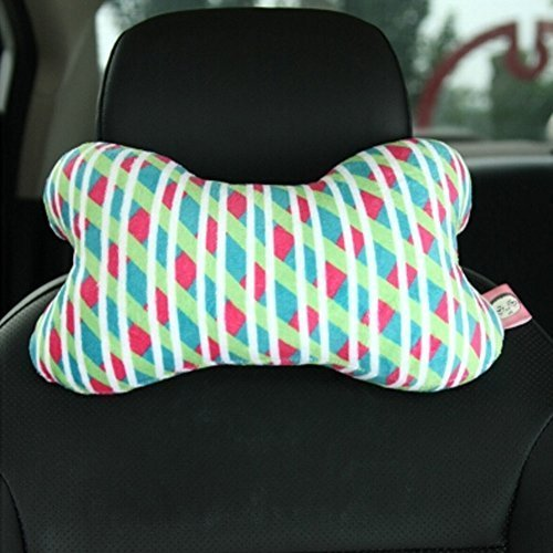 PANDA SUPERSTORE Cute Cartoon Dog Bone Series [Color Grid] Car Headrest/Car Neck