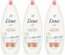PACK OF 3 Dove body wash anti-stress micellar water ultra mild & gentle ... - $19.79