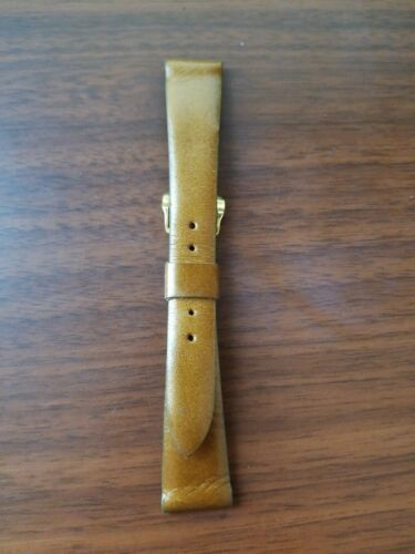 vintage 17MM Caravelle bronze colored leather strap gold buckle - $23.76