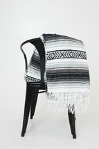 #11 Black Gray Mexican Falsa Blanket Beach Picnic Yoga Mat Bed Throw Sar... - $19.42 CAD