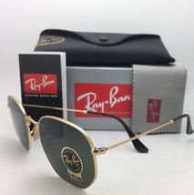 New RAN-BAN Sunglasses HEXAGONAL RB 3548-N 001 48-21 140 Gold Frame w/ G15 Green image 5