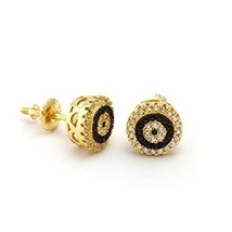 Round Cut White & Black CZ Women's Stud Earrings 14k Yellow Gold Over 925 Silver - $60.32