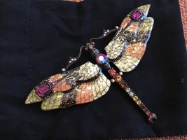 Joan Rivers Rhinestone Mosaic Enamel Dragonfly Brooch/ Pin Large - $76.75