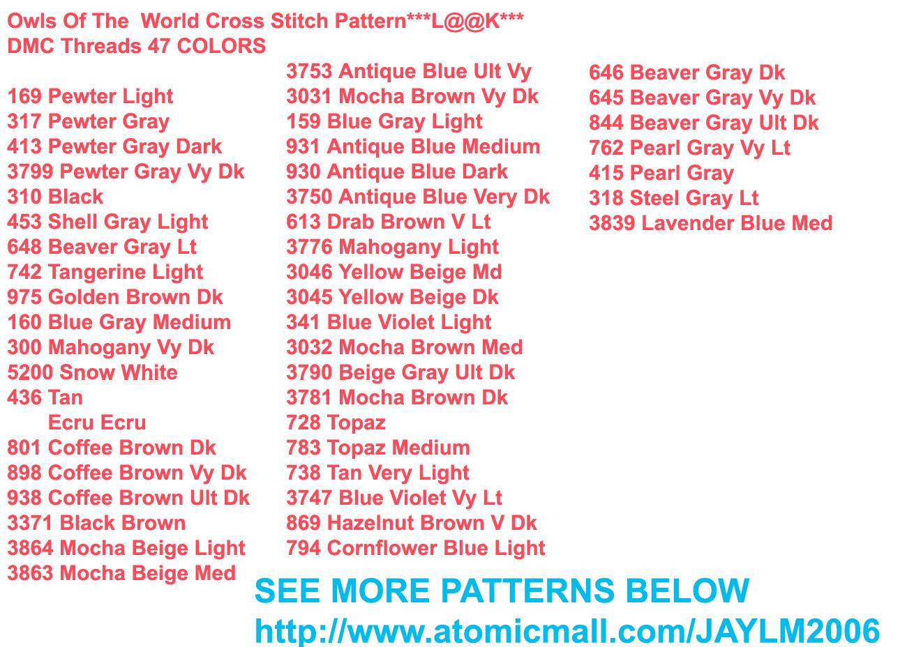 Owls Of The  World Cross Stitch Pattern***LOOK***