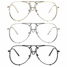 Retro Vintage Officer Metal Rim Exposed Lens Pilots Eye Glasses - $12.95