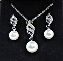14K White Silver Plated Faux Pearl Necklace & Pierced Earrings Jewelry Set - $47.55