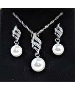 14K White Silver Plated Faux Pearl Necklace & Pierced Earrings Jewelry Set - $47.55
