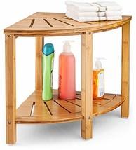 Premium Bamboo Corner Bench - Wood Spa Stool Bench with Storage Shelf fo... - $97.99