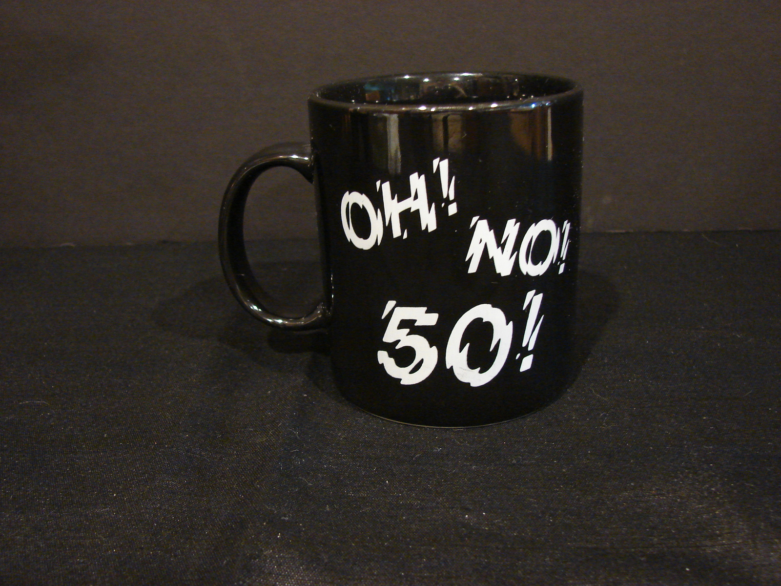 "Primary image for Black Ceramic Whimsical Birthday Mug Shivering ""Oh! No!  50!"""