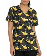 Disney Aladdin Movie Genie Lamp Mock-Wrap Scrub Top Nurses Uniform gray/... - $19.95