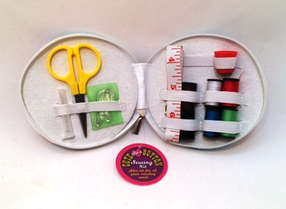 Mini Sewing Kit in Pink Novel Retro Case Home or Travel Great Stocking Stuffer