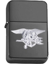Matte Black Gold US Navy Seal Insignia Star Lighter - BRIGHT NICKEL - $14.84