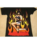 Bettie Page Flaming Lingerie Photo Subway Print T-Shirt NEW UNWORN - $14.50