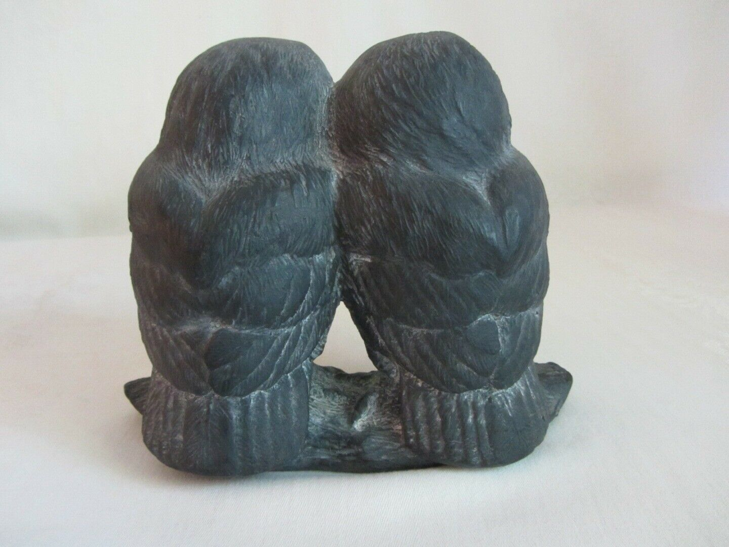 Hen-Feathers Two Owls Figurine Black Statue Vintage Hand Cast Korea