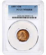 1909 VDB 1c PCGS MS66 RB - Lincoln Cent - $242.50