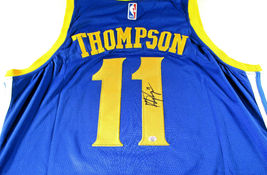 KLAY THOMPSON / AUTOGRAPHED GOLDEN STATE WARRIORS PRO STYLE BLUE JERSEY / COA image 1