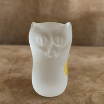 "Strauss glass Owl frosted paperweight vintage 2 3/4"" tall animal figurin... - $44.50"
