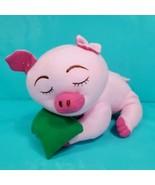 Pink Pig Sleeping On Green Pillow Plush Piggy Soft Stuffed Animal Toy 11... - $17.81
